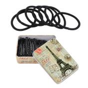iLoveCos Black Hair Elastics and Bobby Pins with Box Black
