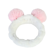 EMMA'S STYLE Women Fashion Cute Beauty Headband Panda with Fluffy Ball Ear Cosmetic Shower Elastic Hair Band