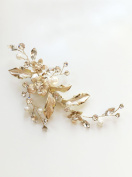 USABride Bridal Comb Gold Plated Simulated Pearls Petite Floral Wedding Headpiece TC-2276-G