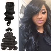 8A Unprocessed Brazilian Body Wave With Closure 3 Bundles With Closure 100% Human Hair