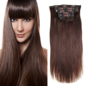 Clip in Real Human Hair Extensions Straight Dark Brown(#2) 7 Pieces 80 Grams80ml