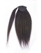 Brazilian Kinky Straight Yaki Human Hair Ponytail Extensions Natural Black 30cm - 60cm
