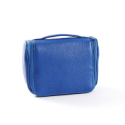 Small Hanging Toiletry Bag - Full Grain Leather - Cobalt