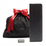 Leatherology Father's Day Gift Set with Tie Case - Full Grain Italian Leather Leather - Ebony