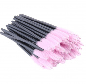 Xiaoyu 100PCS Disposable Mascara Wands Eyelash Applicator Eyebrow Brush - Pink