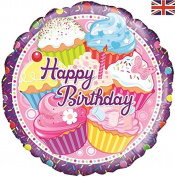 Oaktree Cupcake Birthday 46cm Foil Balloon
