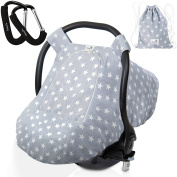 Luxurious Unisex Baby Car Seat Cover– Bonus 2 Free Stroller Hooks & Matching Drawstring Bag| Soft Universal Adjustable Fit, Protective, Cool/Warm, and Cosy Canopy| Perfect for Infants by BabyDu