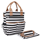 NinkyNonk Multifunction Baby Nappy Tote Bags Large Capacity Nappy Striped Handbag for Moms,Black Stripe