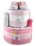 Sunshine Gift Baskets - Pink Nappy Cake Gift Set with Pink Infant Shoes