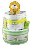 Sunshine Gift Baskets - Leo the Lion Nappy Cake Gift Set with a Plush Lion