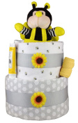 Sunshine Gift Baskets - Bumble Bee Nappy Cake Gift Set with a Plush Bee for Boys