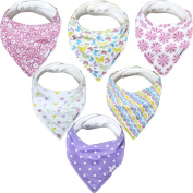 Baby Bandana Drool Bibs - 6 Pack Gift Set for Girls, Organic Cotton, 3 Snaps To Fit All Neck Sizes, Soft, Extra Absorbent, Easy To Clean, Perfect Baby Shower Gift Set