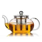 ZJY Clear Glass Teapot Heat Resistant Teapots 800 ml /27 oz with Infuser for Tea Leaf Loose Tea