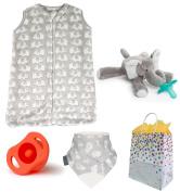 """Elephant Safari"" Gender Neutral 4 Item Baby Shower Gift Set"