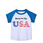 Kids Girls Boy T-Shirts, TRENDINAO Fashion Print USA Letter Short Sleeve T-shirt For 3-7 Years Tops (130