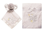I Love You to the Moon and Back - Bundle of Baby Blanket and Elegant Elephant Security toy