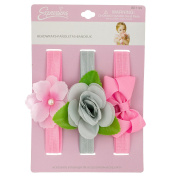 INFANT 3PC BOW & FLOWER HW SET