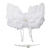 Newborn Baby Photography Props Fancy Feather Angel Wings Costume and Headband Set Cute Photoshoot Outfits 0-6 Months