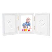 Baby Handprint and Footprint Kit Photo Frame Newborn Gifts Keepsakes for Table Decor, Premium Clay and Wood Frame