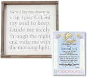 Baptism Gifts for Boy | Good Night Prayer Wall Art From Mud Pie and Baptism Prayer Card | Christening Gift for Boys from Godparents or Grandparents | Bundle of 2 items