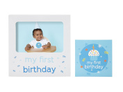 Tiny Ideas Baby's First Birthday Milestone Baby Belly Sticker and Keepsake Photo Frame Gift Set, Blue