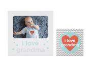 Tiny Ideas I Love Grandma Baby Belly Sticker and Sentiment Keepsake Photo Frame Gift Set, White
