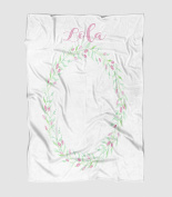 Pink and Green Floral Wreath Photography Blanket