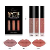 Kinghard 3PCS New Fashion Waterproof Matte Liquid Lipstick Cosmetic Sexy Lip Gloss Kit