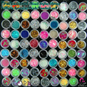 80 Pots Glitter Paillette Spangles Beads Powders for Dinner Weddings Beauty Care Nail Art Salon Decoration