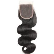 Gluna Hair Grade 8a Brazilian Body Wave 4x 4 Free Part lace closure Natural Black Brazilian Virgin Human Hair Closures
