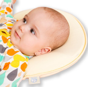 Baby Head Shaping Memory Foam Pillow - 2 organic cotton covers included - Prevents newborn & infant Flat Head Syndrom and SIDS