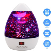 Star Sky Night Lamp,ANTEQI Baby Lights 360 Degree Romantic Room Rotating Cosmos Star Projector With LED Timer Auto-Shut Off For Kid Bedroom,Christmas Gift