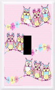 Got You Covered Beautiful Pattern with Owls and Flowers on A Pink Background Light Switch Plate or Outlet, 1X Toggle