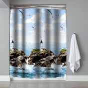 Premium Quality Blue Sea Lighthouse Bathtub Shower Curtain by PeakHut- 100% Polyester Waterproof Fabric Curtain For Bathroom - Includes 12 Curtain Rings, 180cm x 200cm
