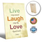ZENDORI ART Live Laugh Love Desk Plaque Decor - Inspirational French Country Decorative Signs for Family