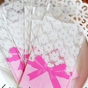 Cellophane Cookie Bags flower lace bow self-adhesive Wedding Party candy bag 100pcs