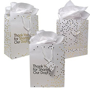 12 Gift Boutique Medium Wedding Gift Bags; Metallic Gold Dots Wedding Gift Bags