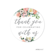 Andaz Press Peach Coral Floral Garden Party Wedding Collection, Round Circle Label Stickers, Thank You for Celebrating With Us, 40-Pack