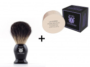 Henry Cavendish Lavender Shaving Soap with Shea Butter & Coconut Oil. Long Lasting 110ml Puck Refill with a Gentleman's 100% Pure Badger Hair Shaving Brush.