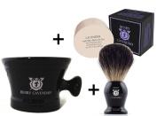 Henry Cavendish Lavender Shaving Soap, Long Lasting 110ml Puck Refill, plus Ceramic Shaving Soap Bowl, plus Gentleman's 100% Pure Badger Hair Shaving Brush.