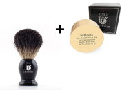 Henry Cavendish Himalaya Shaving Soap with Shea Butter & Coconut Oil. Long Lasting 110ml Puck Refill with a Gentleman's 100% Pure Badger Hair Shaving Brush.