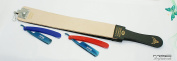 Professional Quality Sharpening Strop Made of Real Leather 7.6cm Wide and 60cm Long With 2 Titanium Straight Razors-525