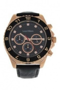 Louis Villiers Lvag5877-11 Rose Gold/black Leather Strap Watch Watch For Men 1 Pc