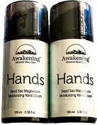 (Combo Set) Awakening HANDS Magnesium-Rich Hydrating Hand Therapy Cream for Dry, Cracked Skin. Two 3.38oz/100ml pump bottles