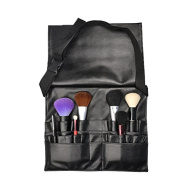 Makeup Brush Bag Case Portable 21 Pockets PU Leather Cosmetic Brush Holder Organiser with Artist Belt Strap