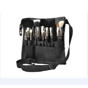 Professional Makeup Brush Bag Case Portable 22 Pockets PU Leather Cosmetic Brush Holder Organiser with Artist Belt Strap