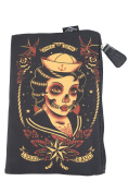 Liquorbrand Gothic Dark Seas Sailor skull lady tattoo Purse Cosmetic Bag