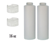 2 PACK PBA FREE NATURAL HDPE PLASTIC CONTAINERS 470ml WITH FLIP CAP