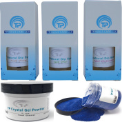 Nail Dipping Powder Kit ~ 60ml Blue Glitter tp28 ~ dip powder nail kit for Fast, Easy dip nail powder starter kit at Home, No UV Light Needed ~ Won't Damage Natural Nails ~ Safe & Odourless