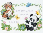 "Brand New Baby Hugs Baby Animals Birth Record Stamped Cross Stitch Kit-30cm ""X9"""" Brand New"